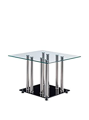 Luxury Home Contempo End Table, Clear/Black