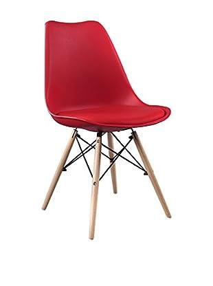 LO+DEMODA Set Silla 2 Uds. Wooden Cushy Rojo