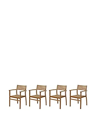 Amazonia Coventry 4-Piece Teak Stacking Chairs, Brown