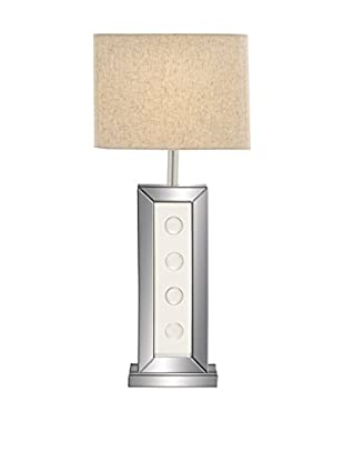 Wood & Mirror 1-Light Lamp, Silver/White/Natural