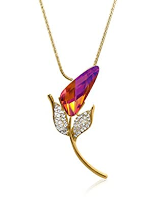 Philippa Collar Art Big Tulip Strass metal bañado en oro 24 ct