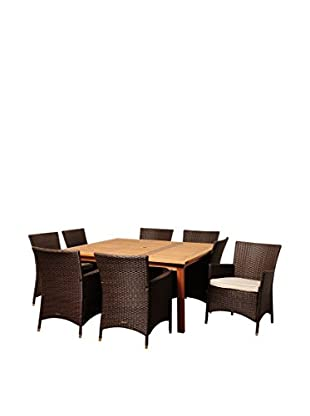 Amazonia Wyoming 9-Piece Eucalyptus Wicker Square Dining Set with Off-White Cushions, Brown