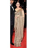 Bollywood Replica Aishwarya Rai Net Saree In Beige And Gold Colour Nc109