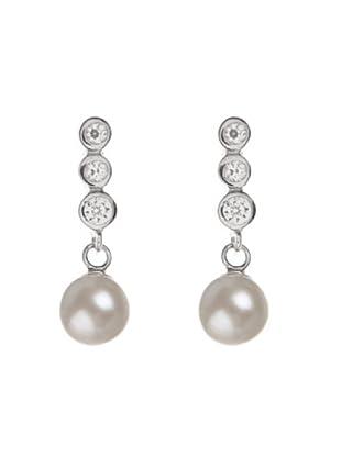 Silver One Pendientes Triple Zirconium Perla