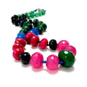 Daamak Jewellery Multicolor Chalcedony Faceted Beads Necklace