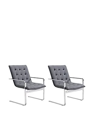 Zuo Modern Solo Set of 2 Faux Leather Occasional Chairs, Grey