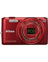 Nikon S6800 16 MP Point and Shoot Camera (Red) with 12x Optical Zoom, Memory Card and Camera Case