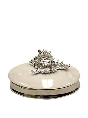 Murex Ceramic Jewelry Holder, Silver/Cream