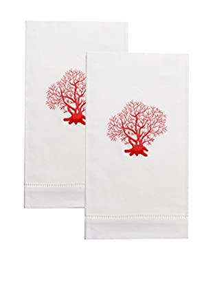 Henry Handwork Set of 2 Red Coral Embroidered Hand Towels, White