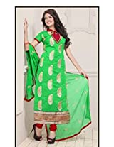 Saara Green And Red Embroidered Dress Material - 142D3041