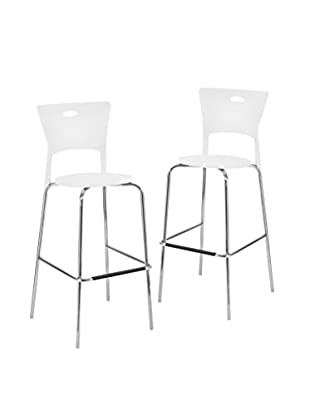 LumiSource Set of 2 Mimi Bar Stools, White