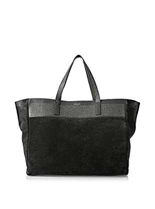 Saint Laurent Women's East-West Shopping Tote, Black Suede