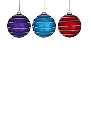 Winward Set of 3 Circle Ball Ornaments, Multi