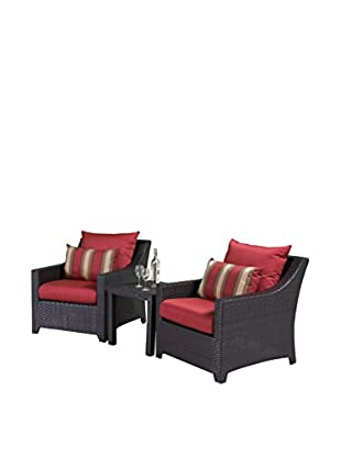 RST Brands Deco 2 Club Chairs & Side Table Set, Red