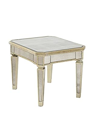Bassett Mirror Company Borghese Mirrored Rectangle End, Silver Leaf