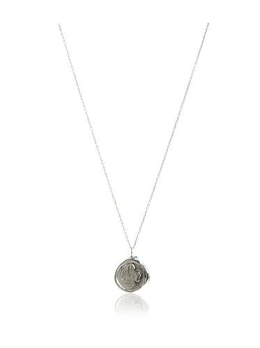 Catherine Angiel Silver Fleur-de-Lis Seal Pendant Necklace