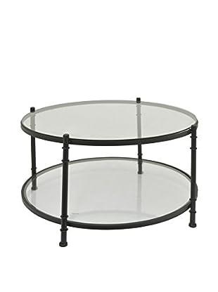 Three Hands Glass-Top Metal Coffee Table, Black