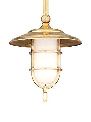 Hudson Valley Lighting Rockford 1-Light Pendant, Aged Brass/Opal