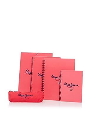 Pepe Jeans Carpeta + 3 Cuadernos + Estuche Logo Coral