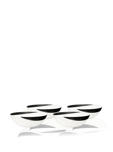 Noritake Everyday Elegance Set of 4 Metaal Cereal/Soup Bowls (White/Black)