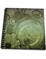 3dRose db_102678_1 Steampunk Clock Watch and Flower Design-Drawing Book, 8 by 8-Inch