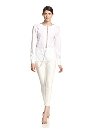 Thakoon Women's Jeweled Back V Top (White)