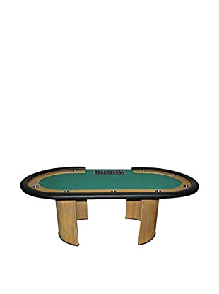 Professional Texas Hold 'Em Poker Table with Dealer Position, Green