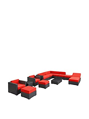 Modway Fusion 12-Piece Outdoor Patio Sectional Set (Espresso/Red)