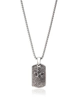 Stephen Oliver Men's Fleur-De-Lis Black CZ Necklace