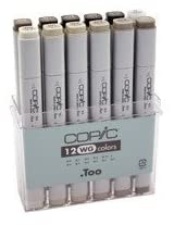 Copic 12 Color Markers Set (Warm Grey)