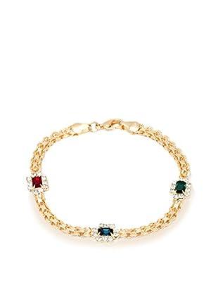 Sevil Emerald, Ruby, and Sapphire Crystal Elements Frame Bracelet