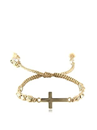 Ettika Tan & 18K Gold-Plated Beaded Crossfire Bracelet