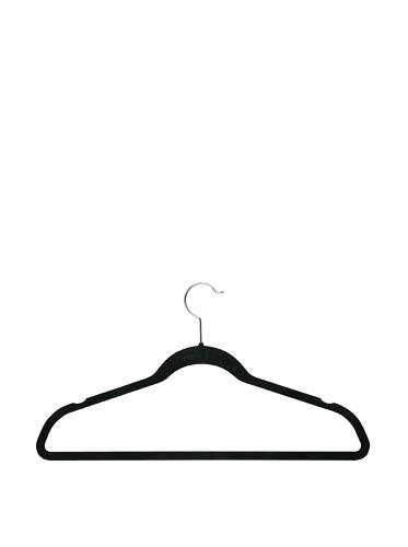 Honey-Can-Do Ultra-Thin Non-Slip Velvet-Touch Hangers, Black, 20-Pack