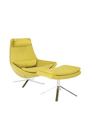 Kardiel Retropolitan Modern Lounge Chair and Ottoman, Dijon