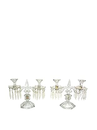 Uptown Down Previously Owned Set of 2 Glass Candelabras