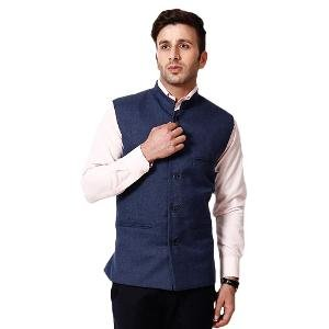RPB Men's Nehru Jacket - Blue