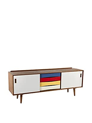 Control Brand The Mid Century Tander 4-Drawer 2-Door Credenza, Multi