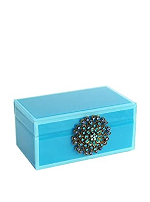 American Atelier Small Jewelry Box with Brooch, Teal