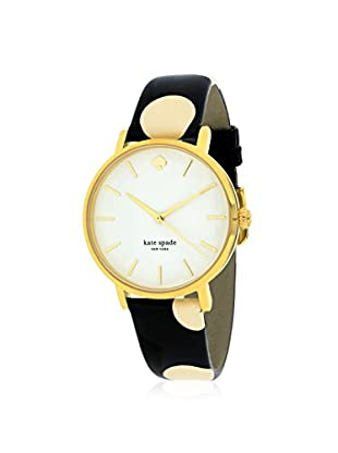 kate spade new york Women's 1YRU0173 Metro Black with Cream Dot/White Stainless Steel and Leather Watch