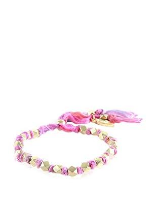 Ettika Bubble Gum & 18K Gold-Plated Beaded Adjustable Vintage Ribbon Bracelet