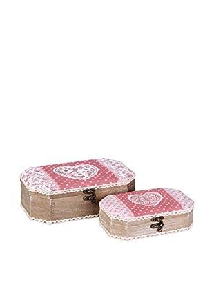 Romantic Style Set Caja de Almacenamiento 2 Uds. Love Rojo / Blanco