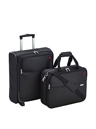 American Tourister Set Trolley, halbstarr + Laptop Case Atlanta Fit Upright Overnight schwarz