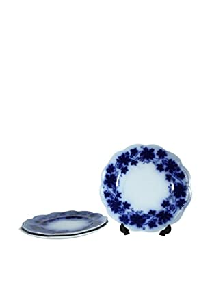 Set of 3 Flow Blue Vinranka Salad Plates, Blue/White