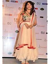 Ethnic Trend Velvet And Georgette Bollywood Replica Dress - 1036 (White)