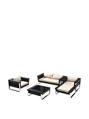 Ceets Wilmont 4-Piece Outdoor Conversation Set, Black/Cream