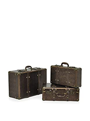 Three Hands Set of 3 Wood Suitcases