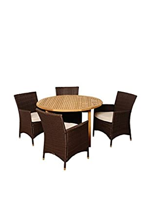 Amazonia Teak Vermont 5-Piece Wicker Round Dining Set with Grey Cushions, Brown