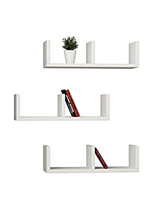 Best Seller Living Wandregal 3er Set 3 U weiß