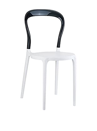 Officine Fiam Stuhl 2er Set Bobo weiß/schwarz