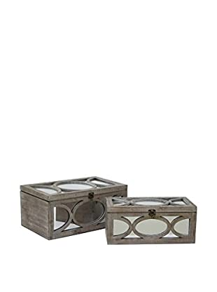 Three Hands Set of 2 Mirrored Boxes, Natural